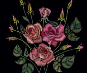 Realistic rose embroidery pattern vector