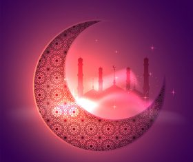 Red background glittering moon ramadan festival vector