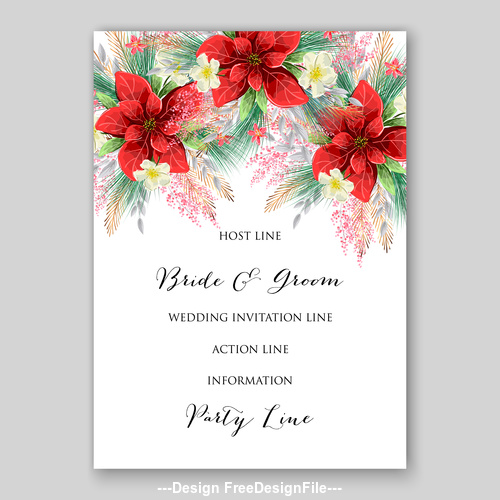 Red floral wedding invitation template on white background vector