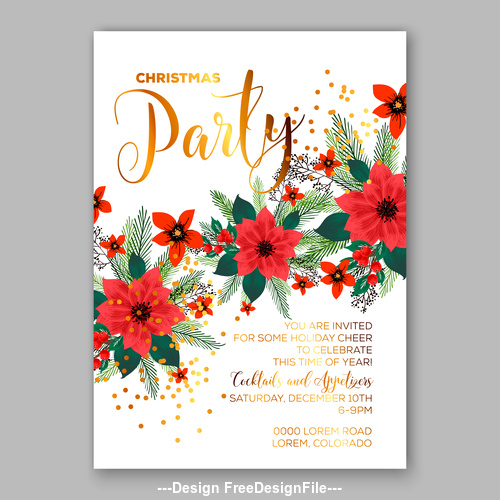 Red floral wedding invitation template vector