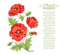 Red flower stationery pattern vector