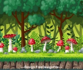 Red mushroom cartoon in green forest vector