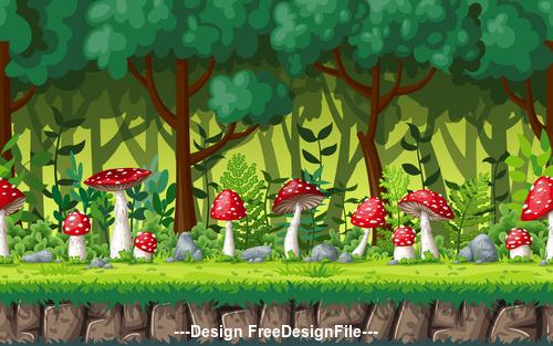 Red mushroom cartoon in green forest vector