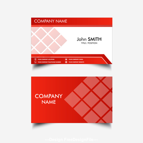 Red white business card design vector