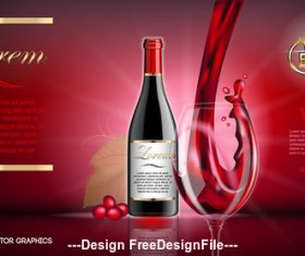 Red wine advertisement vector