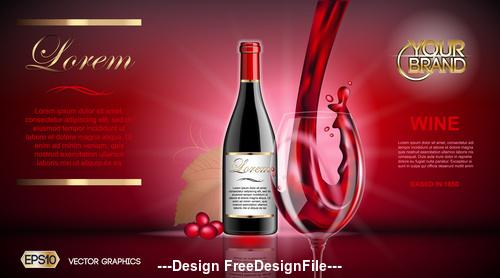 Red wine advertisement vector