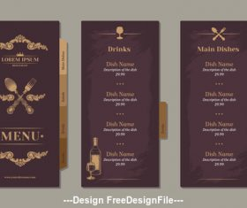 Restaurant wine menu template vector