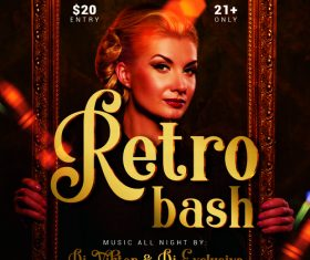 Retro bash party flyer psd template