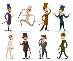 Retro cartoon victorian gentleman vector