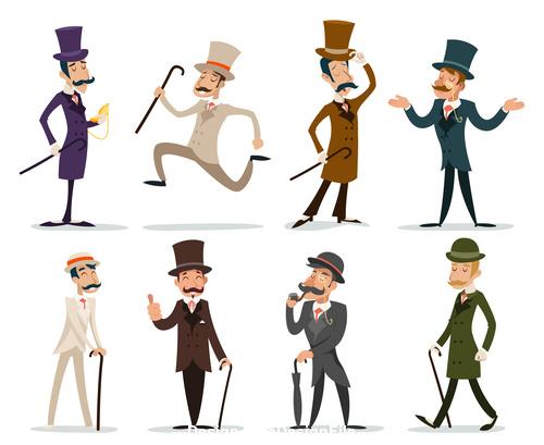 Retro cartoon victorian gentleman vector