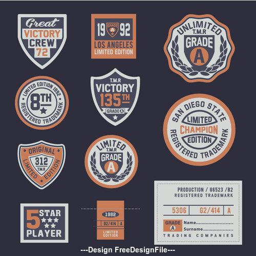 Retro victory label vector
