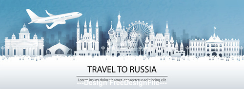 Russia city landscape and travel paper design