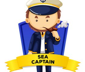 Sea capttain cartoon illustration vector