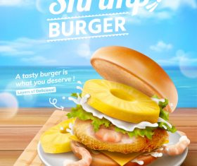 Seafood burger advertising vector
