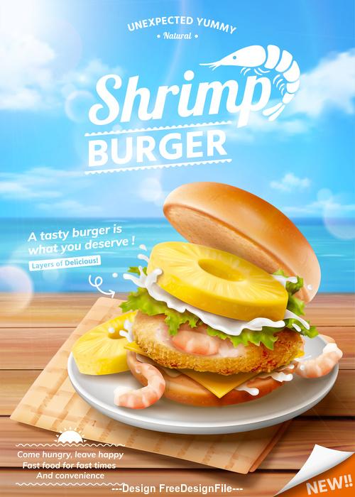 Seafood burger advertising vector