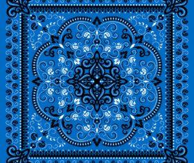 Seamless blue paisley bandana print pattern vector