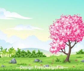 Seamless cartoon nature background vector