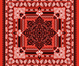 Seamless red paisley bandana print pattern vector