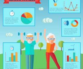 Senior fitness Infographics vector