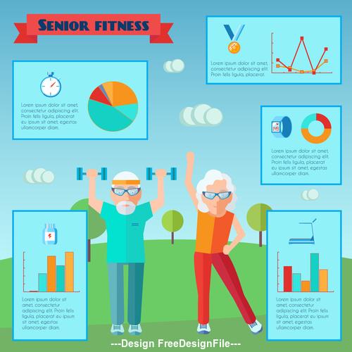 Senior fitness Infographics vector