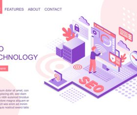 Seo technology flat isometric vector