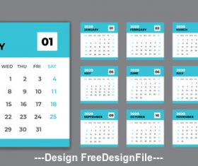 Set desk calendar 2020 template design vector
