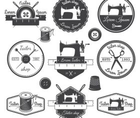 Sewing machine and scissors label vector