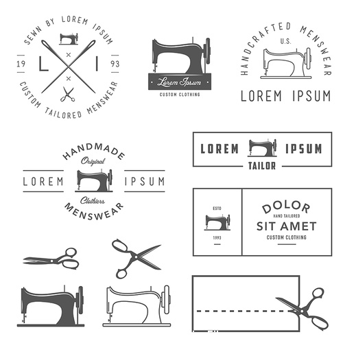 Sewing machine label vector