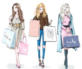 Shopping woman watercolor vector