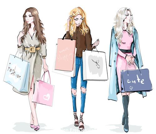 Shopping woman watercolor vector