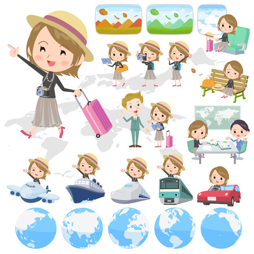 Short hair black high necked woman travel vector