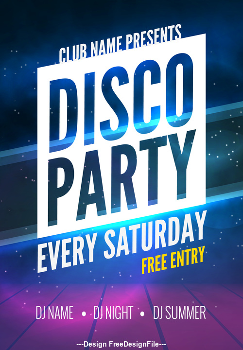 Simple style Disco Party Prom Poster vector