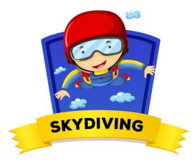 Sky diving cartoon illustration vector