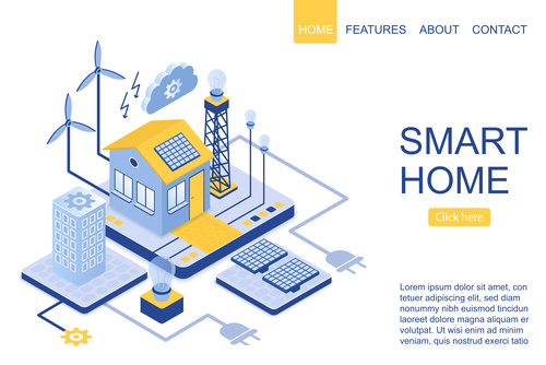 Smart home flat isometric vector
