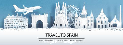 Spain city landscape and travel paper design