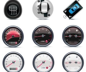 Speedometer and car stall illustration vector