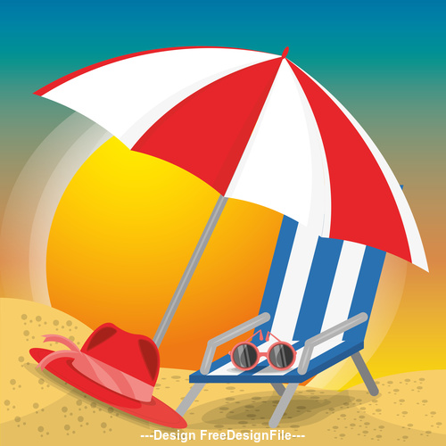 Spend summer vacation on the beach vector