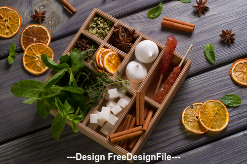 Spices and lemon slices Stock Photo