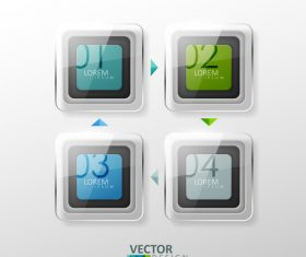 Square glass graphic and number design vector
