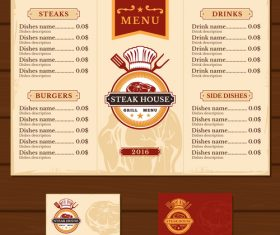 Steak house menu template vector