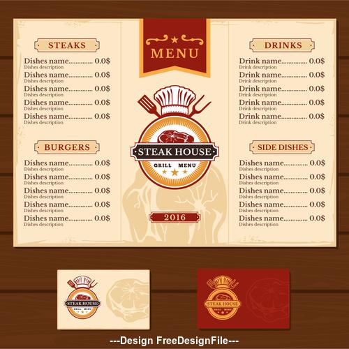 Steak house menu template vector