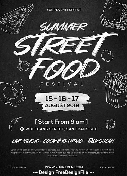 Street Food Festival Flyer PSD Template
