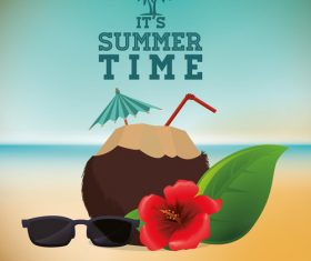 Summer Beach Coconut Juice and Sunglasses vector