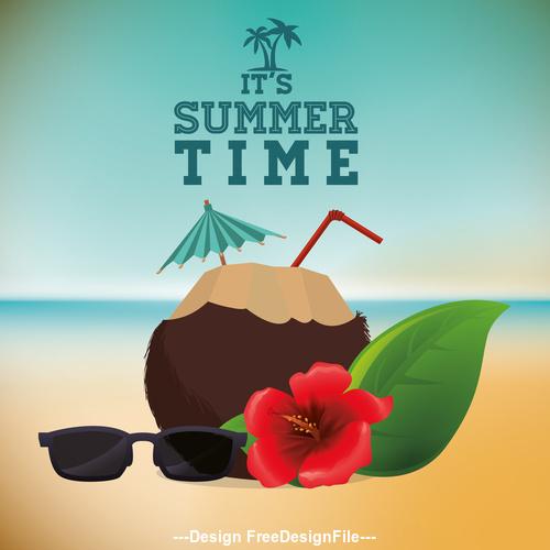 Summer Beach Coconut Juice and Sunglasses vector