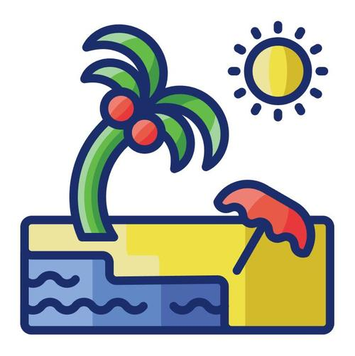 Summer beach cartoon vector