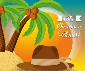 Summer beach coconut tree and hat vector