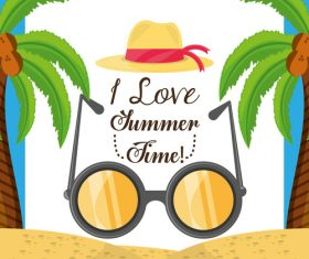 Summer beach hat and sunglasses vector