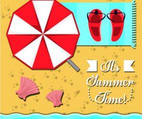 Summer beach umbrellas and slippers vector