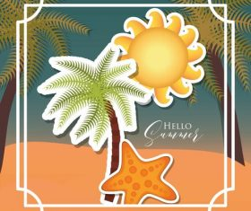 Summer beach vacation illustration vector
