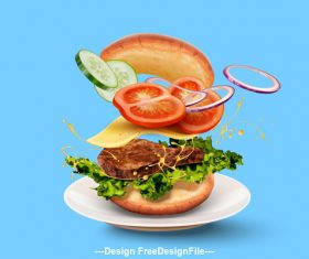 Summer burger advertisement vector